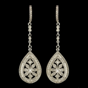 Rhodium Clear Encrusted CZ Crystal Dangle Earrings 7426