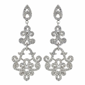 Rhodium Clear Encrusted CZ Crystal Swirl Chandelier Earrings 7425