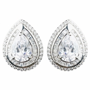 Rhodium Clear Large CZ Teardrop Stud Earrings 9857