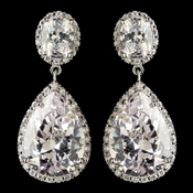 Rhodium Clear Large Teardrop CZ Crystal Drop Earrings 9737