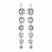 Rhodium Clear Long CZ Crystal Dangle Earrings