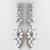 Rhodium Clear Marquise CZ Crystal Dangle Earrings E 9413