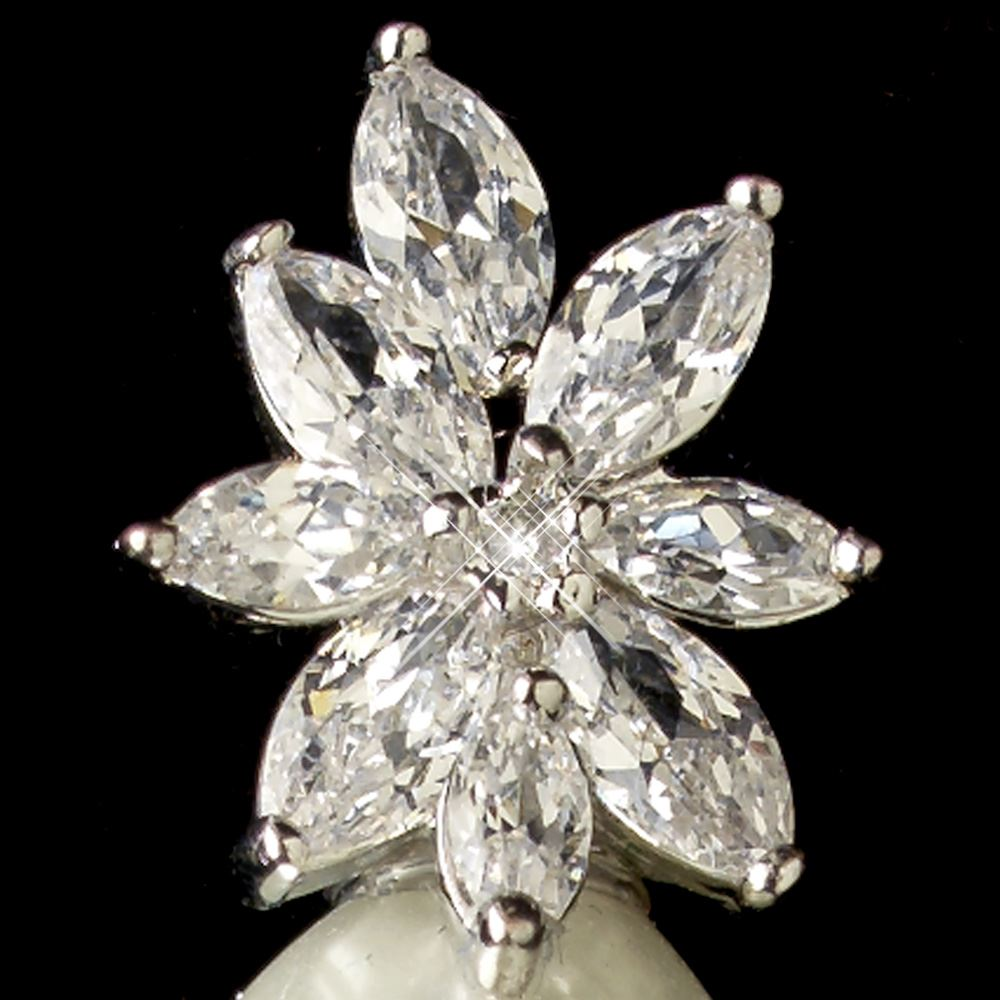 6 Crystal Pearl Photo Picture Frame Diamond Bowknot: Rhodium Clear Marquise CZ Crystal & Diamond White Pearl