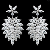 Rhodium Clear Marquise CZ Drop Earrings 94117