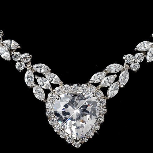 Rhodium Clear Marquise & Heart CZ Jewelry Set 9640