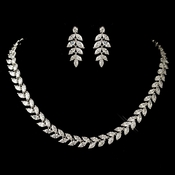 Rhodium Clear Marquise Leaf Chevron Jewelry Set 1315