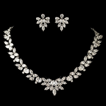 Rhodium Clear Marquise & Oval CZ Crystal Jewelry Set 13049