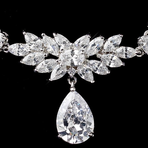 Rhodium Clear Marquise & Pear CZ Cluster Drop Necklace