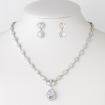 Rhodium Clear Marquise & Teardrop CZ Crystal Bridal Wedding Jewelry Set 82070