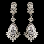 Rhodium Clear Marquise & Teardrop CZ Crystal Dangle Earrings 3060