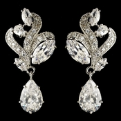 Rhodium Clear Marquise & Teardrop CZ Crystal Drop Earrings 9736