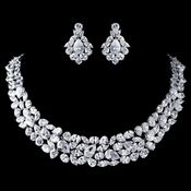 Rhodium Clear Ravishing Marquise & Teardrop CZ Crystal Jewelry Set 13045