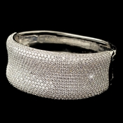 Rhodium Clear Micro Pave CZ Crystal Bangle Bracelet 4405