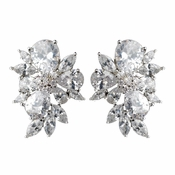 Rhodium Clear Multi Cut Cluster CZ Stud Earrings
