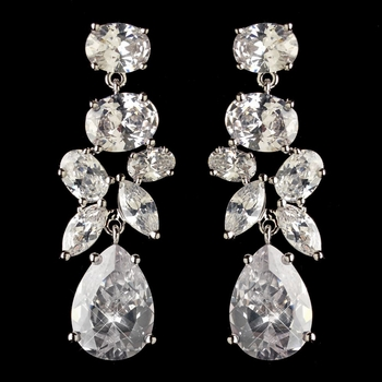 Rhodium Clear Multi Cut CZ Crystal Dangle Earrings 2803