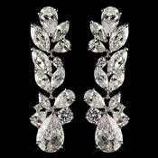 Rhodium Clear Multi Cut CZ Crystal Dangle Earrings 9726 ***Discontinued***