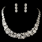 Rhodium Clear Multi Cut CZ Crystal Jewelry Set 13044