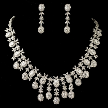 Rhodium Clear Multi Cut CZ Crystal Jewelry Set 13046