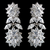 Rhodium Clear Multi Cut CZ Floral Drop Earrings