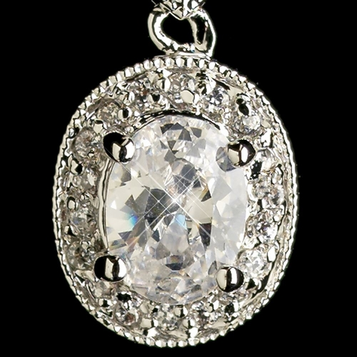 Rhodium Clear Oval CZ Crystal Drop Earrings 5996