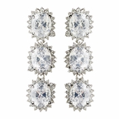 Rhodium Clear Oval CZ Crystal Triple Drop Earrings 9412