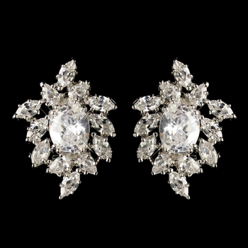 Rhodium Clear Oval & Marquise CZ Crystal Cluster Stud Earrings 9731