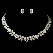 Rhodium Clear Oval & Pear Cut CZ Crystal Jewelry Set 13043