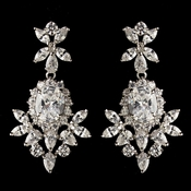 Rhodium Clear Oval & Teardrop CZ Crystal Drop Earrings 9743***Only 3 Left***