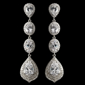 Rhodium Clear Oval & Teardrop Encrusted Pave CZ Crystal Earrings 256