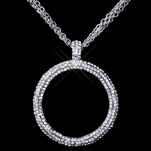 """Hematite Smoke Black Pave Circle Rhinestone Necklace """"Silver Clear Pictured"""""""