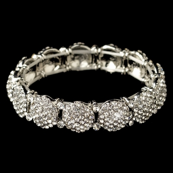 Rhodium Clear Pave Circle Rhinestone Stretch Bracelet 82020