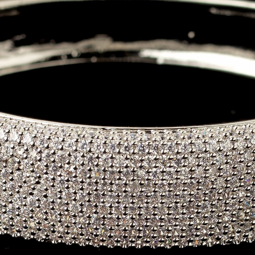 Rhodium Clear Pave CZ Crystal Bangle Bracelet 13047***Discontinued***