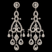Rhodium Clear Pave CZ Crystal Chandelier Earrings 82011