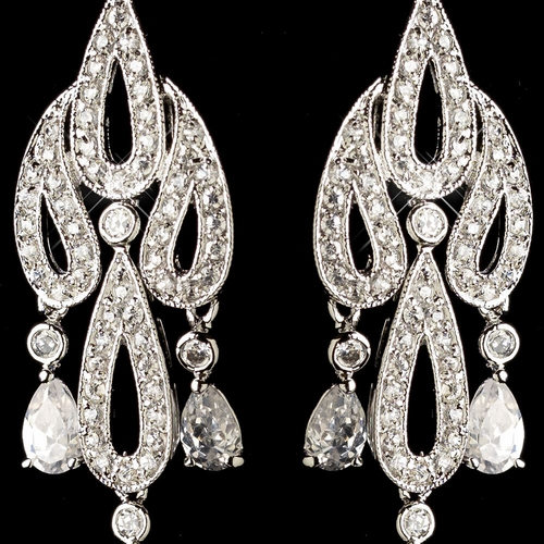 Rhodium Clear Pave CZ Crystal & Diamond White Pearl Chandelier Hook Earrings 82012