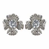 Rhodium Clear Pave CZ Crystal Flower Stud Earrings 9721