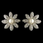 Rhodium Clear Pave Rhinestone & Diamond White Pearl Flower Stud Earrings 82013