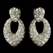 Rhodium Clear Pave Rhinestone Stud Earrings 82014