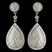 Rhodium Clear Pave Teardrop CZ Crystal Drop Earrings 82009