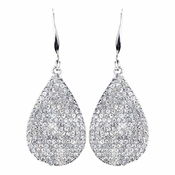 Rhodium Clear Pave Teardrop CZ Drop Earrings