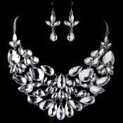 Rhodium Clear Pear Cut Rhinestone Jewelry Set 82050