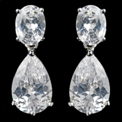 Rhodium Clear Pear & Oval Cut CZ Drop Earrings