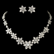 """Audrey Hepburn"" Rhodium Clear Pear & Round Cut Flower Snowflake CZ Crystal Jewelry Set 1574"