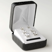 Rhodium Clear Princess Cut CZ 3 Set Earrings 9608