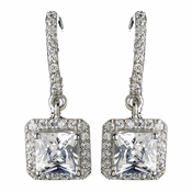 Rhodium Clear Princess Cut CZ Crystal Drop Earrings 9411
