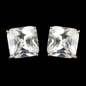 Rhodium Clear Princess Cut CZ Crystal Stud Earrings 9414