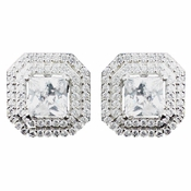 Rhodium Clear Princess CZ Stud Earrings 9805