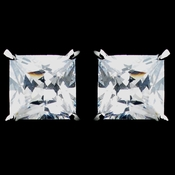 Rhodium Clear Princess CZ Stud Earrings 9895