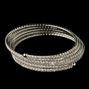 Rhodium Clear Rhinestone 5 Row Stretch Coil Bracelet 1423