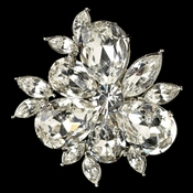 Rhodium Clear Rhinestone Abstract Mini Hair Clip 112