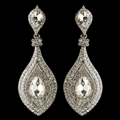 Rhodium Clear Rhinestone & Acrylic Teardrop Dangle Earrings 41411